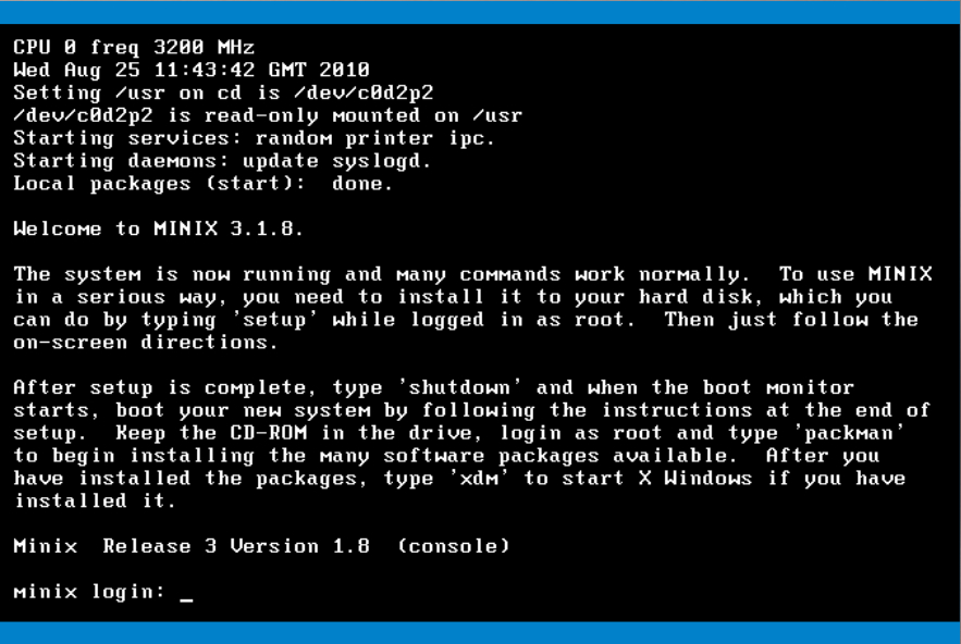 Afbeelding: The login screen to Minix Version 3.1.8, 2010. Wikimedia commons
