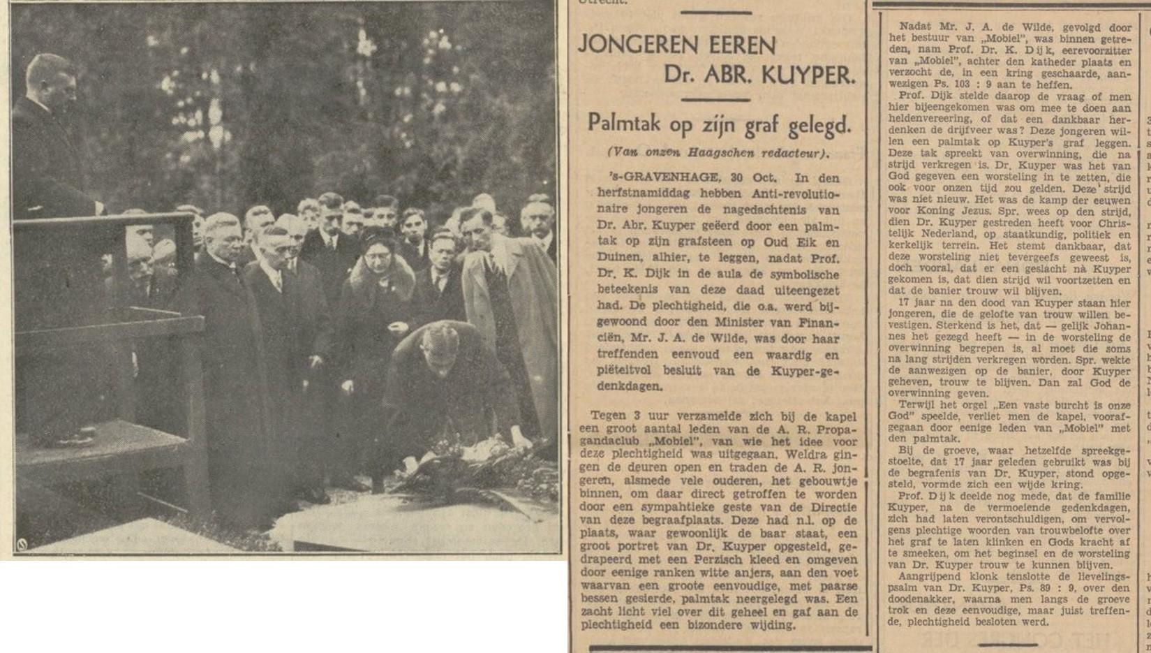 Krantenverslag Kuyper-herdenking 1937. Uit: De Standaard, 1 november 1937.