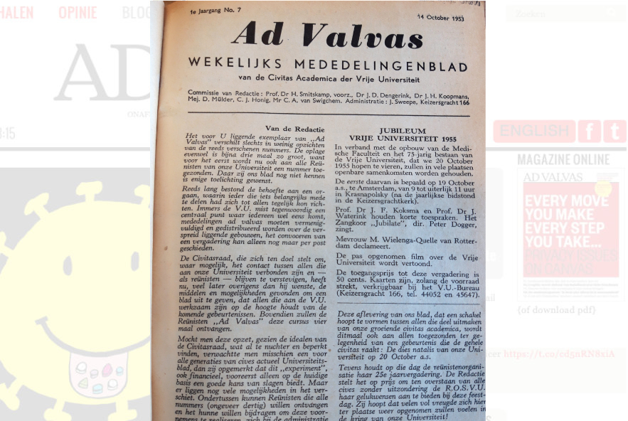 Ad Valvas, no. 7 uit 1953, Collectie Universiteitsbibliotheek VU