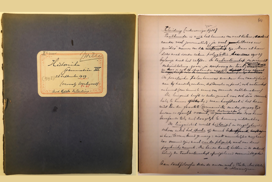 Een dictaat van een college van de neerlandicus Jacob Wille over 'historische grammatica' uit 1919