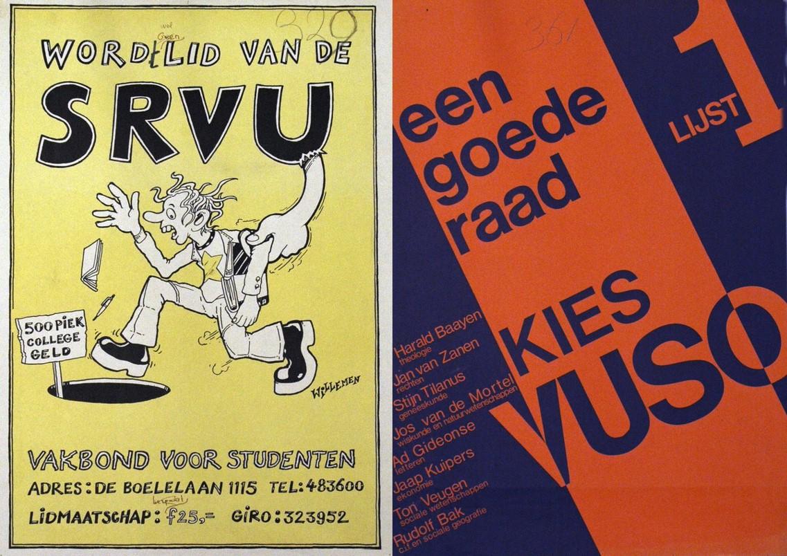 Poster van SRVU; verkiezingsaffiche VUSO, ongedateerd (affichecollectie HDC   UB VU)